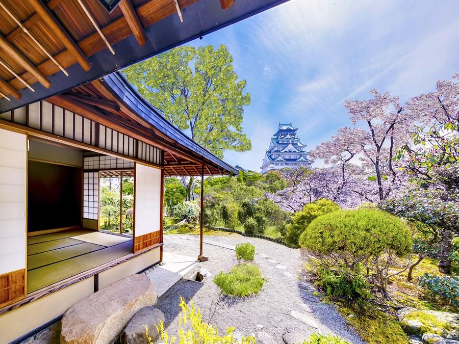 大阪随一の格式高い茶室『豊松庵(ほうしょうあん)』お待合時間には城を眺めながらの呈茶でおもてなし