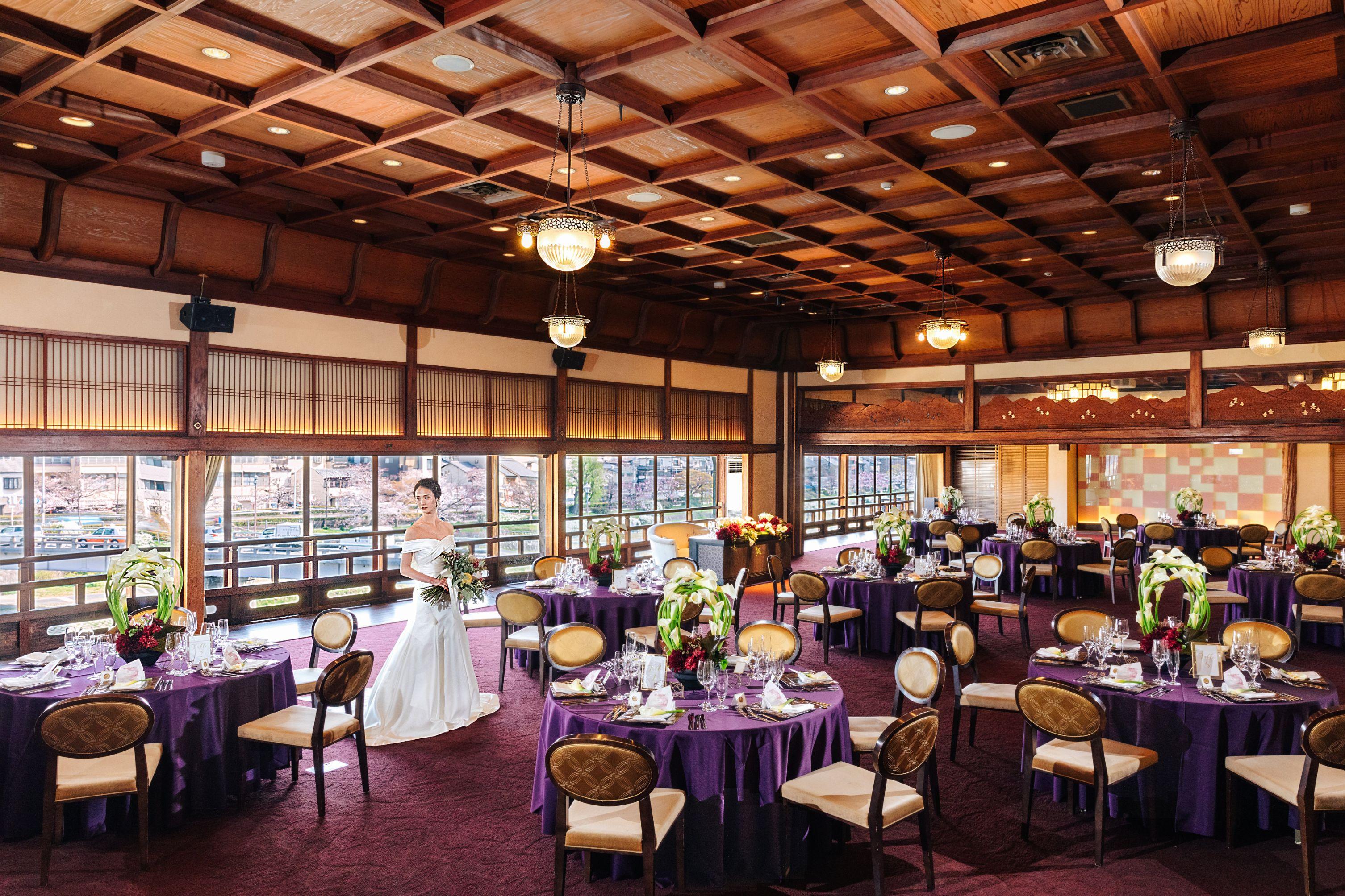 〈老舗の美が織りなす〉京都のゲストハウスで最大級の収容人数を誇るメインバンケット